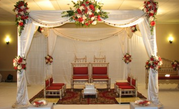 Traditional White And Red Wedding Indian Mandap For Pittsburgh Rental